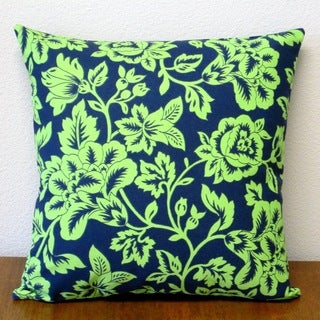 Artisan Pillows 18-inch Indoor/Outdoor Flower Show Royal/Lime Polyester Throw Pillows (Set of 2)