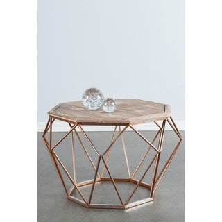 Statements by J Mystique Bronze Metal and Wood Coffee Table