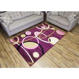 Machine-made Rosa 8654 Purple Polypropylene Area Rug (4' x 6')