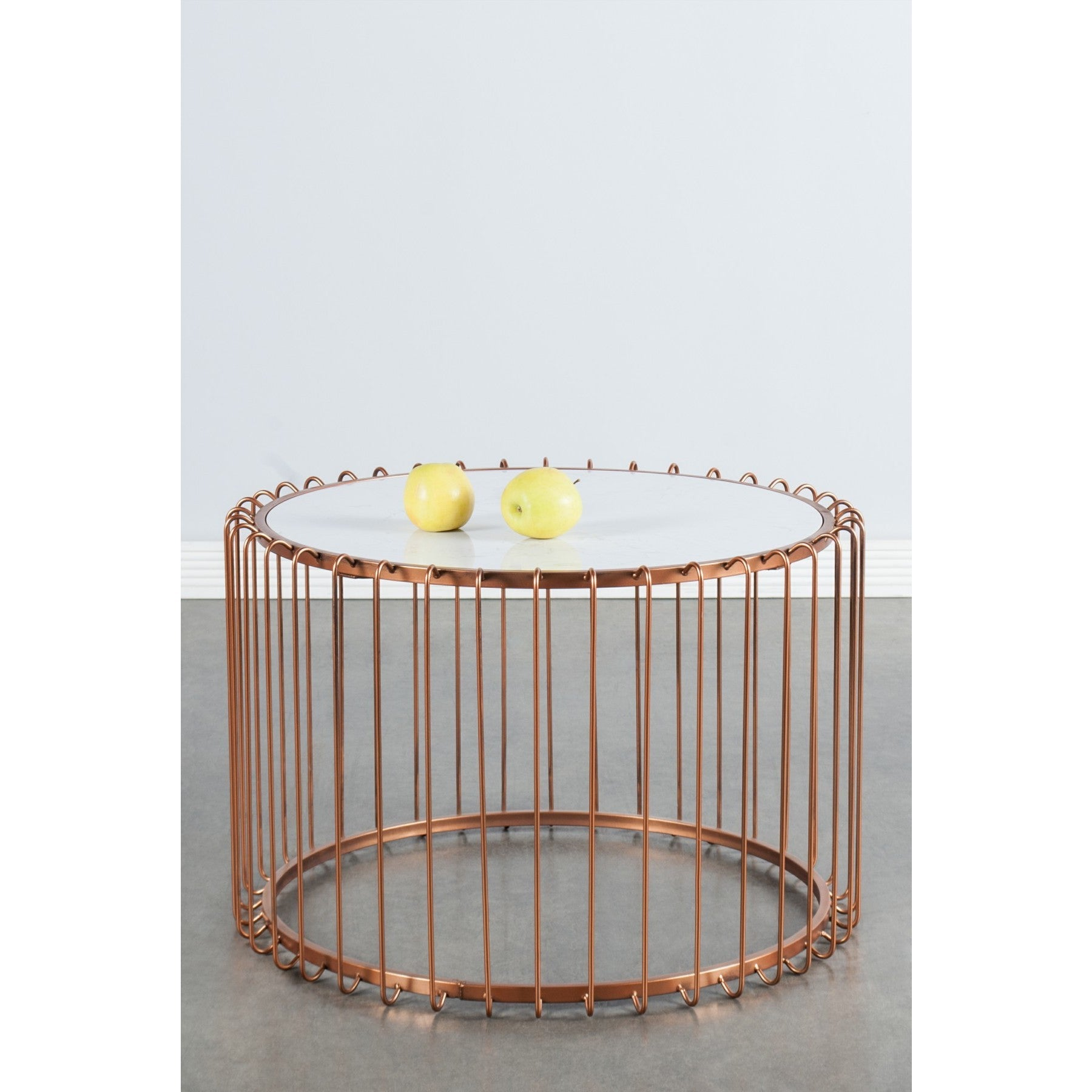 Statements by J Carla Bronze Wire Coffee Table with Marbl...