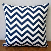 Artisan Pillows Chevron Navy Polyester 18-inch Indoor/Outdoor Throw Pillow (Set of 2)
