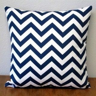 Artisan Pillows Chevron Navy Polyester 18-inch Indoor/Outdoor Throw Pillow (Set of 2)