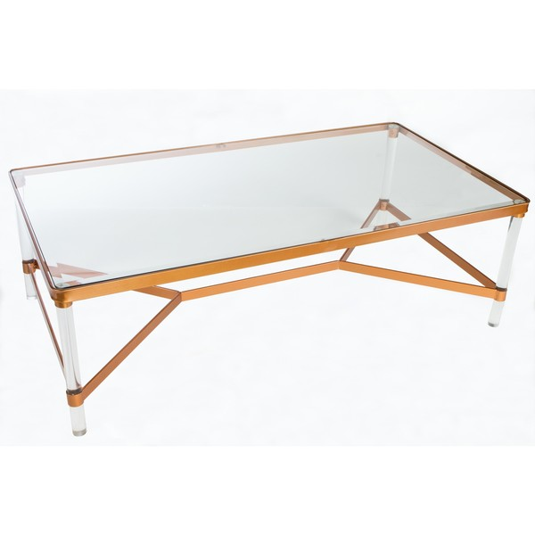 Beau Statements By J Mireille Bronze Finish Wood Acrylic Glam Coffee Table