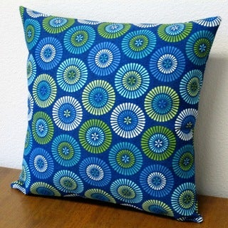 Artisan Pillows 18-inch Indoor/Outdoor Blue Geometric Circles Throw Pillow (Set of 2)