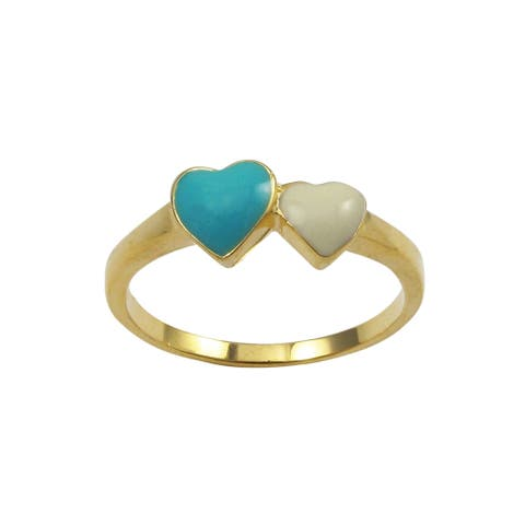 Luxiro Gold Finish Sterling Silver Blue and White Enamel Heart Children's Ring