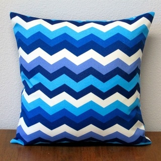 Artisan Pillows Panama Wave Blue Zigzag Polyester 18-inch Outdoor Throw Pillows (Set of 2)