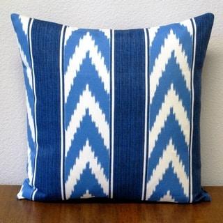 Artisan Pillows Ikat-stripe Cornflower Blue 18-inch Outdoor Throw Pillow (Set of 2)