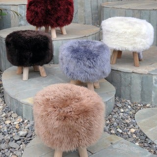 Nordic Faux Fur Stool by Christopher Knight Home