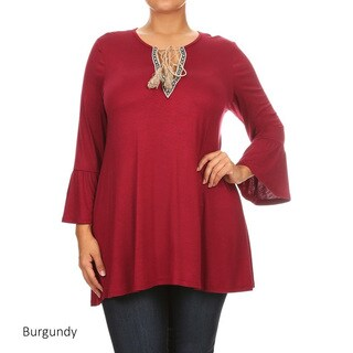 Women's Plus Size Solid Pleated Detail Top