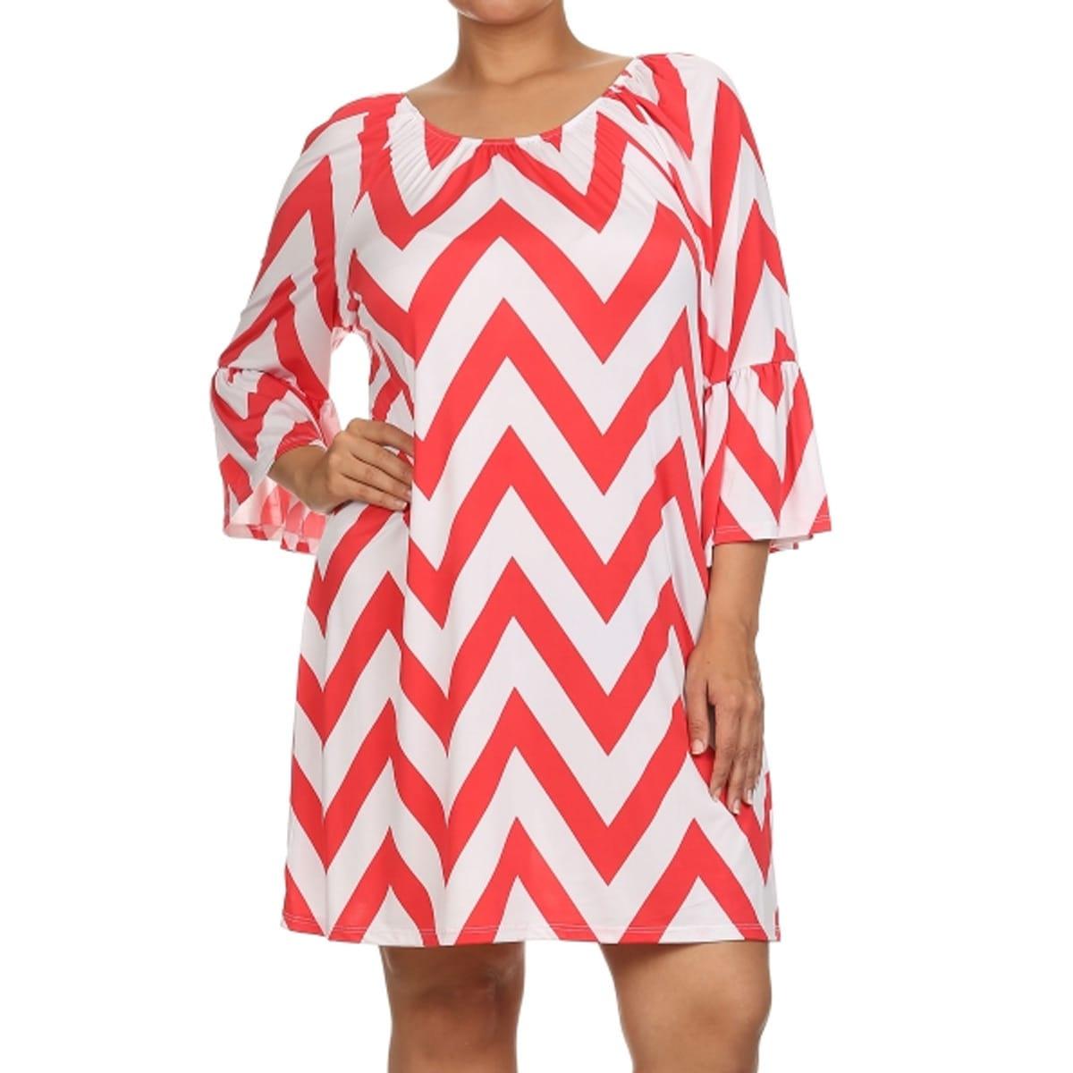 Women\'s Ziz-zag Striped Polyester and Spandex Plus-size Dress