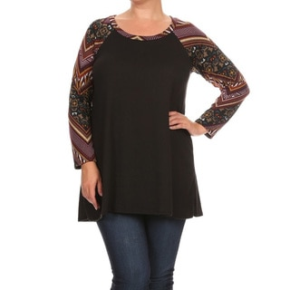Women's Solid Polyester and Spandex Plus-size Patterned-sleeve Tunic