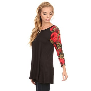 Women's Solid Rayon and Spandex Floral-sleeve Top