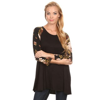 Women's Black Floral Sleeve Rayon Blend Top