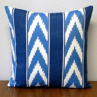 Artisan Pillows Blue Polyester 18-inch Outdoor Ikat Stripe Cornflower Throw Pillow Cover (Set of 2)