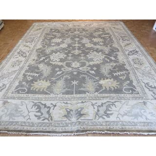 Hand-Knotted Grey Oushak Wool Oriental Rug (12'1 x 14'9)