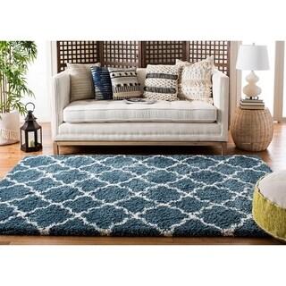 Safavieh Hudson Slate Blue/ Ivory Shag Rug (6' x 9')