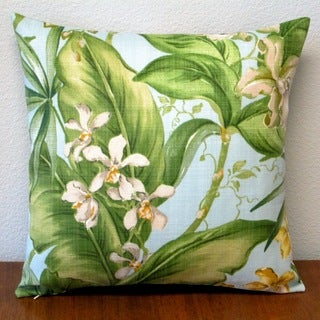 Artisan Pillows Indoor/Outdoor Orchids in Pastel Blue Tropical Floral Polyester 18-inch Throw Pillow (Set of 2)