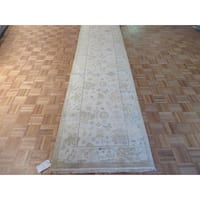 Hand Knotted Ivory Oushak with Wool Oriental Rug - 3'1 x 11'10