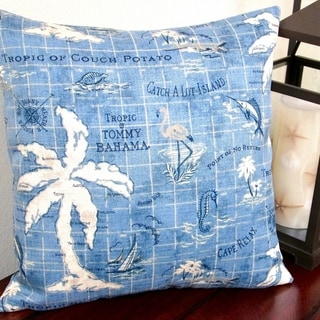 Artisan Pillows 18-inch Indoor/Outdoor Tropical Island Song Ocean Polyester Blue Throw Pillow Covers (Set of 2)