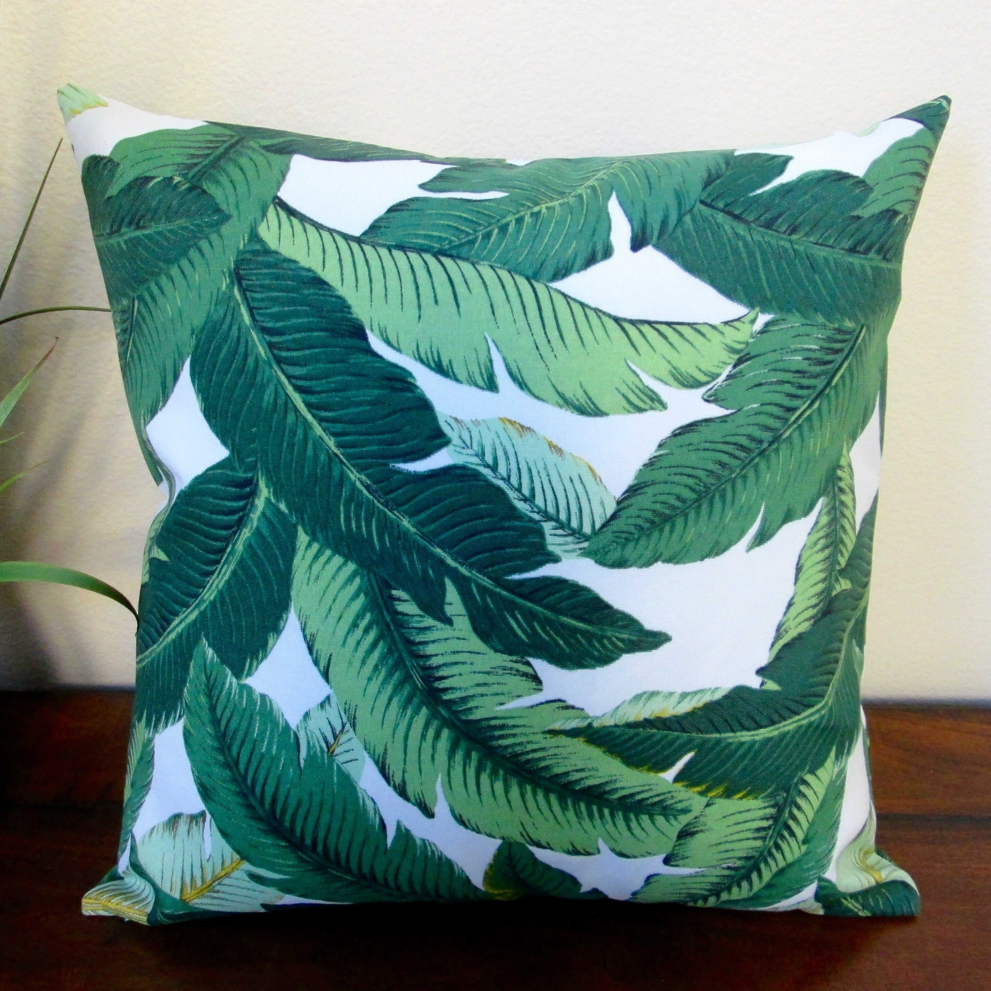 Patio//outdoor green palm leaf Throw Pillow Cover 18x18 End Of Summer Sale!!