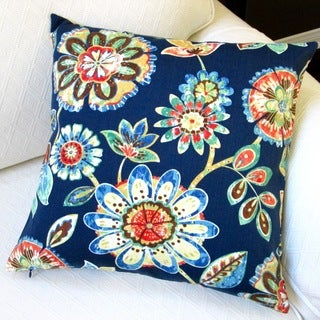 Artisan Pillows 18-inch Outdoor Polyester Navy Throw Pillow (Set of 2)