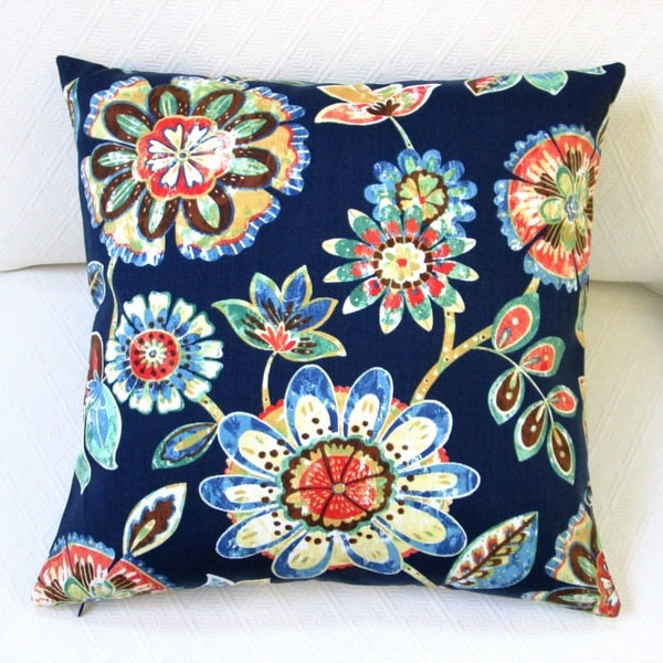 Navy Throw Pillow Sets : Artisan Pillows 18-inch Outdoor Daelyn Navy Polyester Throw Pillow Covers (Set of 2) - Free ...