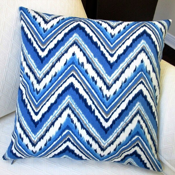 Blue Throw Pillows Overstock : Artisan Pillows Blue Chevron Zigzag 18-inch Outdoor Throw Pillow Cover (Set of 2) - Free ...
