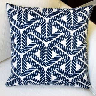 Artisan Pillows Trellis Navy Blue and Ivory Polyester 18-inch Outdoor Square Throw Pillow Covers (Set of 2)