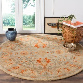 Safavieh Antiquity Traditional Handmade Beige/ Multi Wool Rug (6' Round)