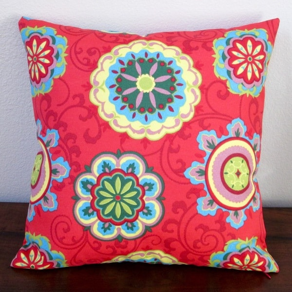 Artisan Pillows Red Geometric Circles 18 Inch Decorative Outdoor