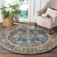Safavieh Antiquity Traditional Handmade Dark Blue/ Multi Wool Rug - 6' Round