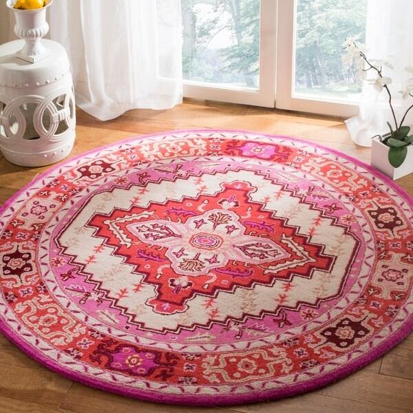 Safavieh Bellagio Handmade Bohemian Red Pink/ Ivory Wool Rug - 5' Round