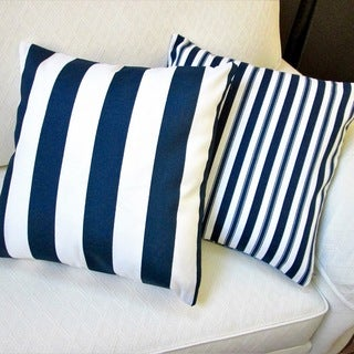 Artisan Pillows Outdoor Navy Polyester Stripe Throw Pillows (Set of 2)