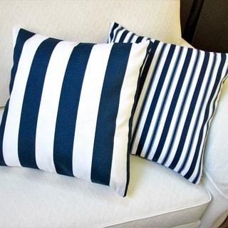 Artisan Pillows Outdoor Navy Polyester Stripe Throw Pillows (Set of 2)