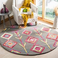 Safavieh Bellagio Handmade Bohemian Dark Grey/ Multi Wool Rug - 5' x 5' round