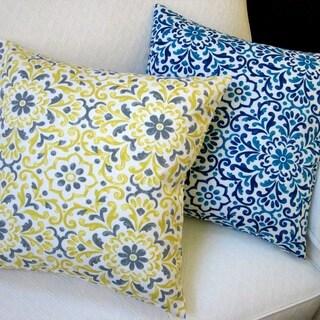 Artisan Pillows Jillara Printed Poly Outdoor Yellow or Blue 18-inch Throw Pillow (Set of 2)