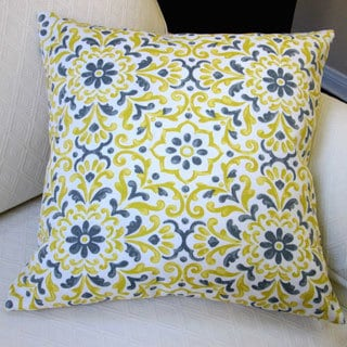 Artisan Pillows Jillara Printed Yellow/Blue Polyester 18-inch Outdoor Throw Pillow Covers (Set of 2)