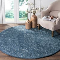 Safavieh Handmade Glamour Contemporary Grey/ Blue Viscose Rug - 6' Round