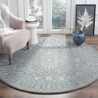 Safavieh Handmade Glamour Contemporary Blue/ Dark Grey Viscose Rug - 6' Round
