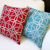 Artisan Pillows Keene Modern Geometric Teal/Cherry 18-inch Outdoor Throw Pillow Covers (Set of 2)