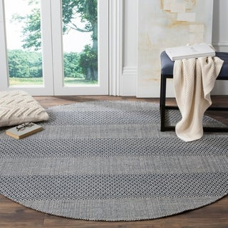Safavieh Montauk Handmade Striped Flatweave Ivory/ Navy Cotton Rug (6' Round)