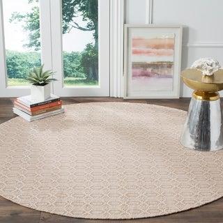 Safavieh Montauk Handmade Geometric Flatweave Ivory/ Grey Cotton Rug (6' Round)
