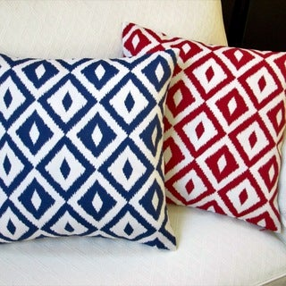 Artisan Pillows Modern Coastal Geometric Navy Blue/Red Polyester 18-inch Indoor/Outdoor Throw Pillow Covers (Set of 2)