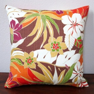 Artisan Pillows Hibiscus Glow Henna 18-inch Tropical Island Throw Pillow Cover (Set of 2)