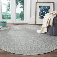 Safavieh Montauk Handmade Geometric Flatweave Ivory/ Blue Cotton Rug - 6' Round