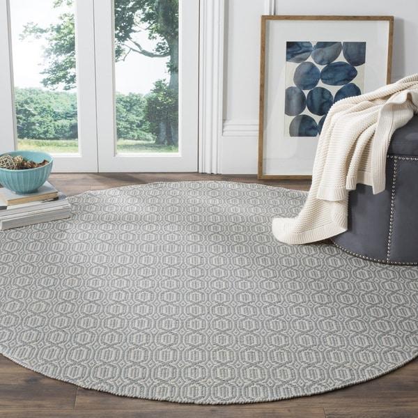 Safavieh Montauk Handmade Geometric Flatweave Ivory/ Blue Cotton Rug (6' Round)
