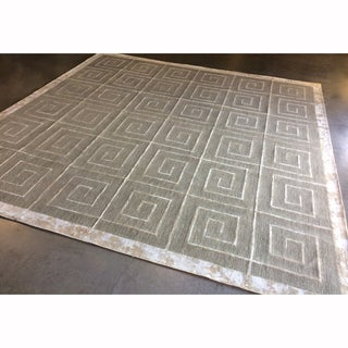 Mandara Hand-Hooked Contemporary Geometric Pattern Rug (15'x15')