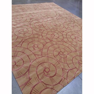 "Mandara Hand-Tufted Contemporary Geometric Pattern Wool Rug (13'5""x14'5"")"