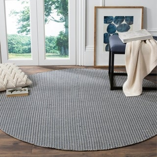 Safavieh Hand-Woven Montauk Flatweave Ivory/ Navy Cotton Rug (6' Round)