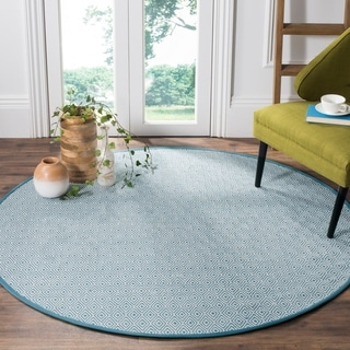 Safavieh Hand-Woven Montauk Flatweave Ivory/ Light Blue Cotton Rug (6' Round)